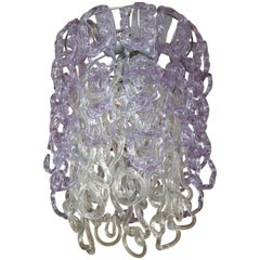 Vintage Vistosi Lavender and Clear Murano Link Chandelier