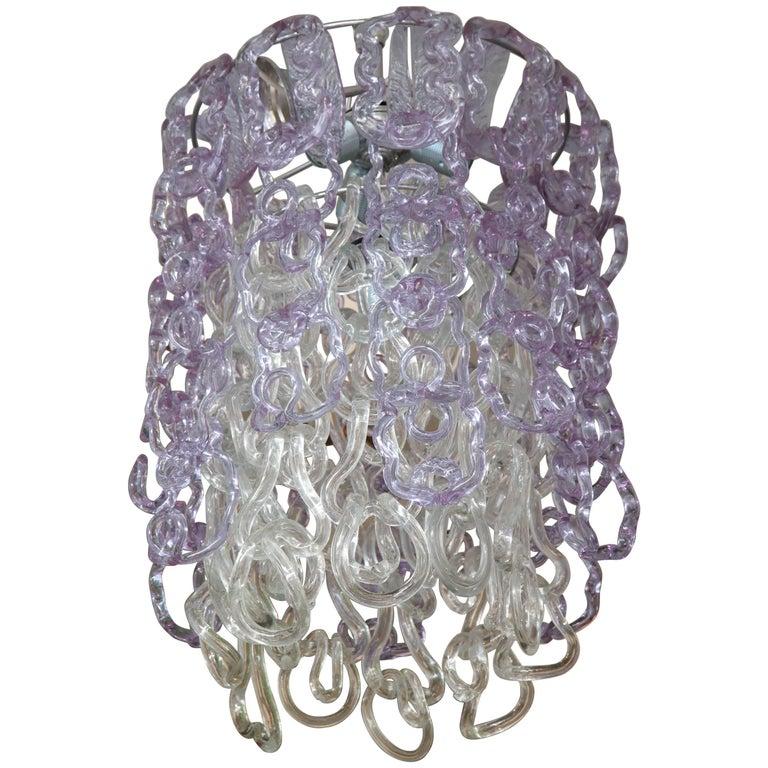 Vintage Vistosi Lavender and Clear Murano Link Chandelier