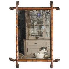 French Unusual Rectangular Bamboo Mirror with Bamboo Root Finials, circa 1880