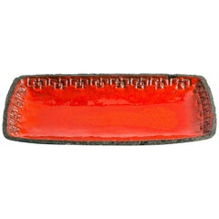 Vintage German Red Glazed Ceramic Tray
