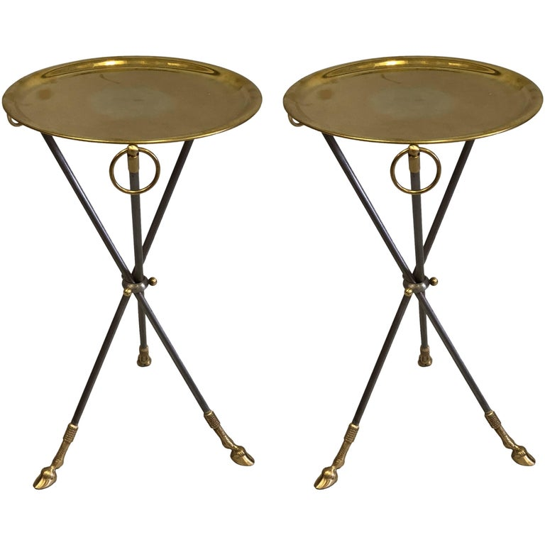 Pair of French Mid-Century Modern Steel and Brass Side Tables by Maison Baguès 1