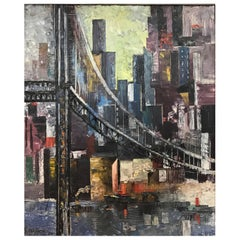 Sam Diamond, View of Manhattan, Oil on Canvas Painting, circa 1954