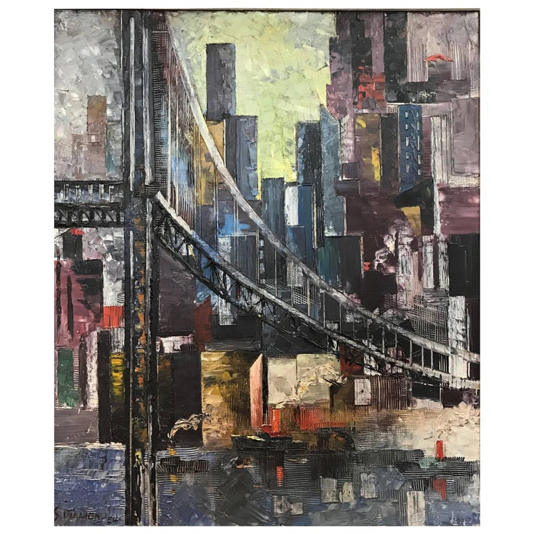 Sam Diamond, View of Manhattan, Oil on Canvas Painting, circa 1954 For Sale