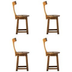 Set of Four Rustic T Back Chairs