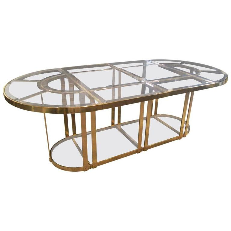 Merveilleux Bronze And Smoked Glass Dining Table In The Gabriella Crespi Style For Sale