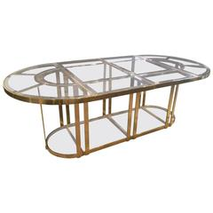 Bronze and Smoked Glass Dining Table in the Gabriella Crespi Style