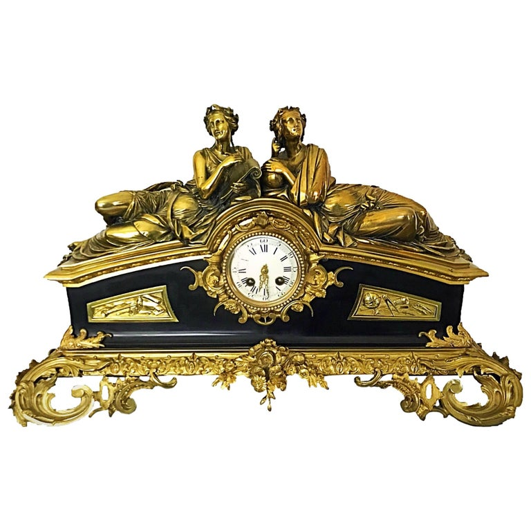 Huge Japy Freres Gilt and Brass Rocco Style Desk Clock