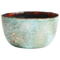 Blue Green Red Enameled Paolo De Poli Bowl