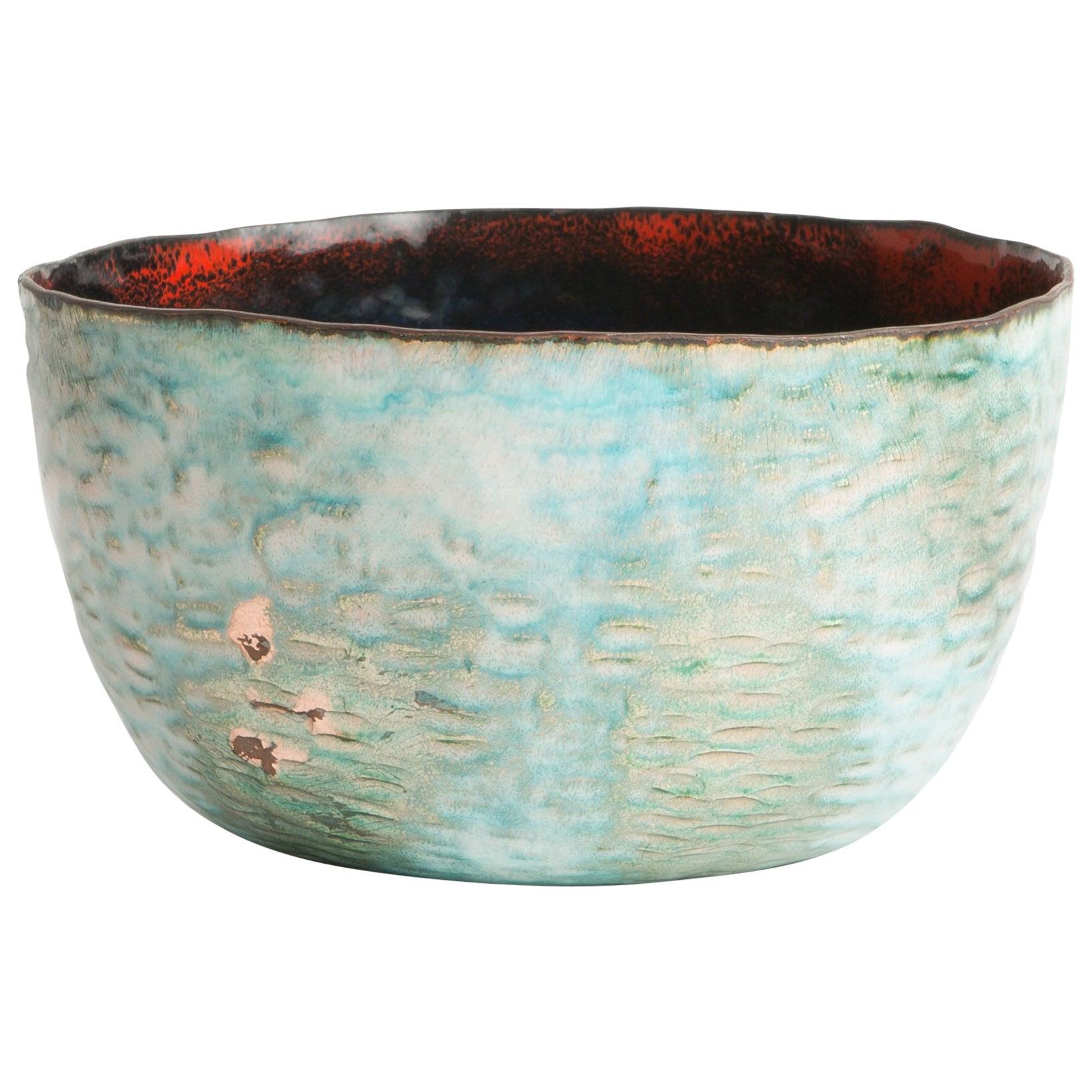Blue Green Red Enameled Paolo De Poli Bowl