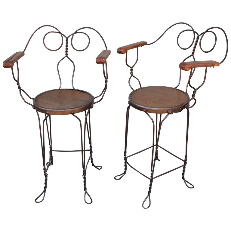 Ice Cream Parlor Armchairs, Industrial/Pair