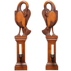 Beautiful Pair of 19th Century English Swan Gothic Sconces