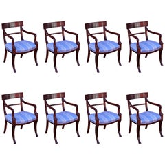 Superb Set of Eight English Mahogany Dinning Chairs
