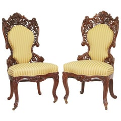 Superb Pair of English 19th century Belter Style Rosewood Victorian Chairs