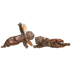 Superb Pair of 19th Century Carved Italian Hanging Putti