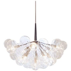 Supra Bubble Chandelier in Gray Leather, Polished Nickel, and Silver Leaf Globes