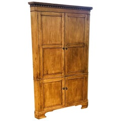 19th Century English Carved Pine Corner Cabinet or Cupboard, circa 1860