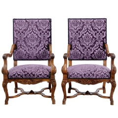 Pair of 19th Century French Walnut Art Nouveau Armchairs