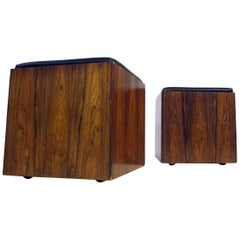 Pair of Danish Rio Rosewood Rollable Cubes Stools or Side Tables, 1960s