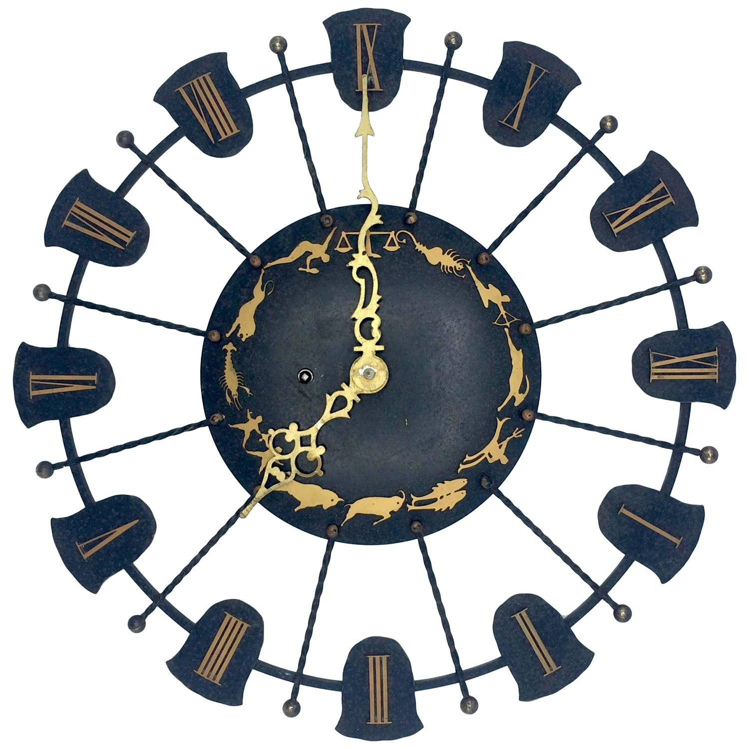 Antique wall clocks for sale at 1stdibs 1940s wrought iron junghans wind up wall clock zodiac themed amipublicfo Gallery