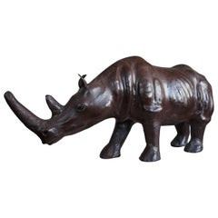 Early 20th Century Sizable Rhino Sculpture Leather on Hand-Carved Wood