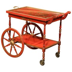 Early 20th Century French Painted Red and Gilt Bar Cart with Chinoiserie Motifs