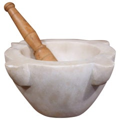 19th Century French White Marble Round Mortar with Wooden Pestle