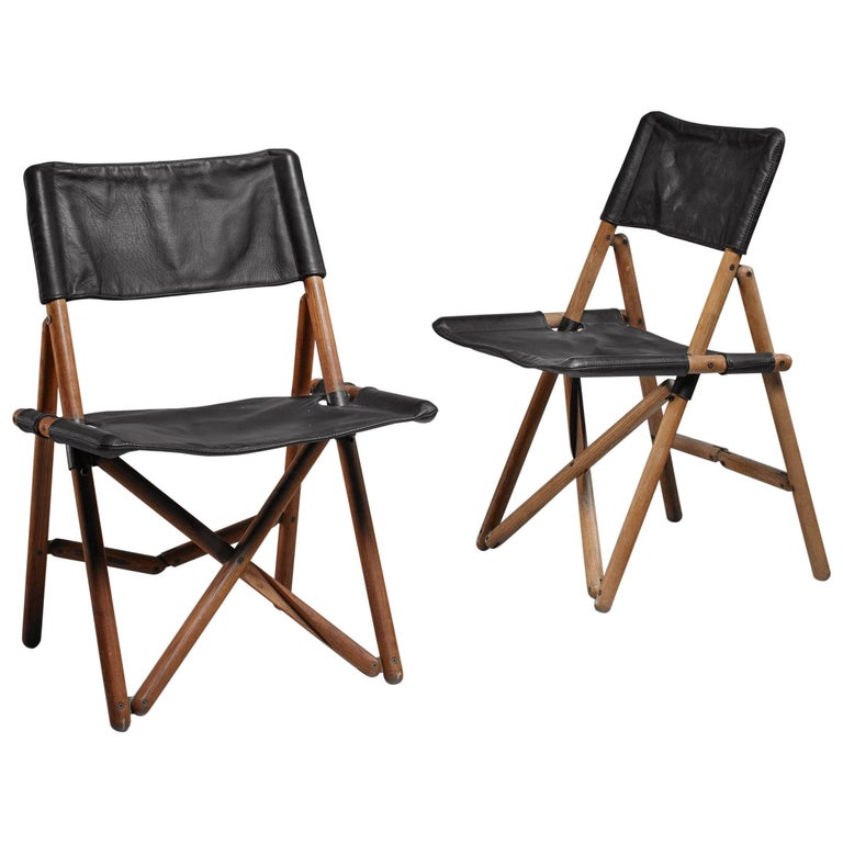 Pair of Leather Folding Chairs by Sergio Asti for Zanotta, Italy