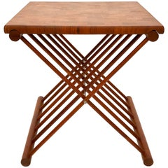 Danish Modern Solid Teak Butcher Block Folding Campaign Style Cocktail Table