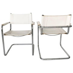 Vintage Mart Stam White Leather and Chrome Cantilever Armchairs Pair