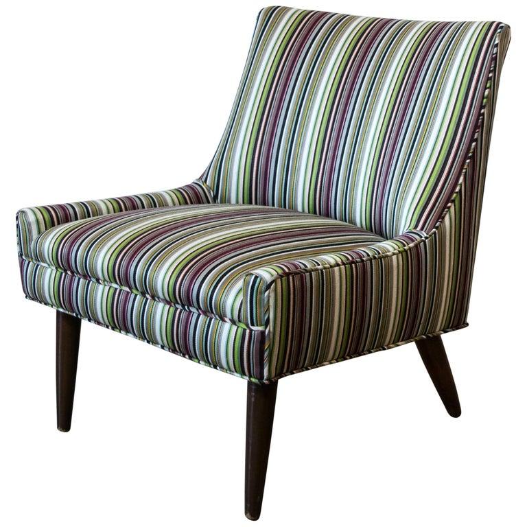 Petite 1950s Slipper Chair in Paul Smith Stripe for Maharam