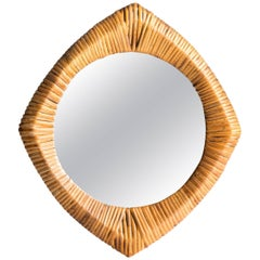 Vintage French 1950s Rattan Mirror