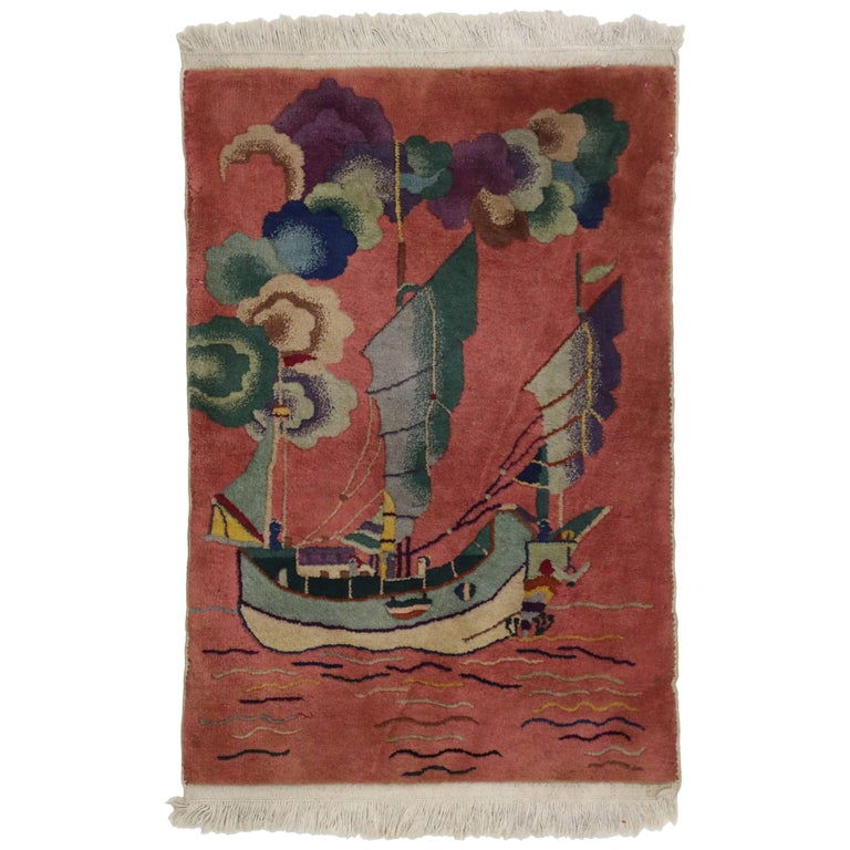 Antique Chinese Art Deco Rug with Sailing Ship, Maximalism Tapestry