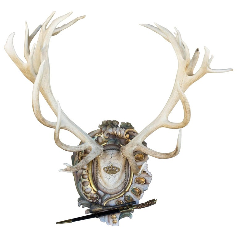 Bleached Habsburg Red Stag Antlers on Rococo Plaque with Kaiser & King Hunt Horn For Sale