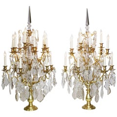 Palatial Pair of French, 19th-20th Century Louis XV Style Girandoles Table Lamps