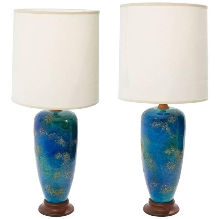 Pair of Midcentury American Blue Glazed Ceramic Lamps with Custom Shades