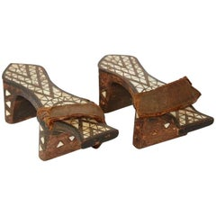 Ottoman Empire '18th Century or Earlier' Pair of Turkish Bath Clogs with Inlay
