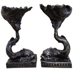 Pair of Italian Bronze Dolphin and Shell Motif Tazza