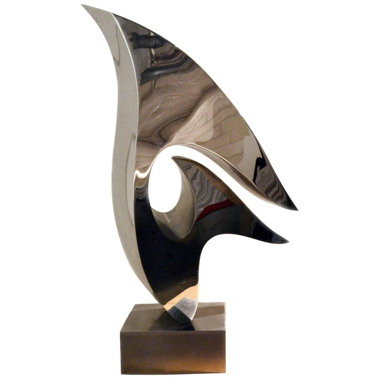 Abstract Stainless Steel Sculpture by Artist Russell Jacques For Sale