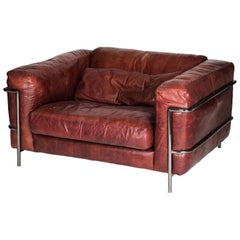 1980s Leather and Steel Sofa