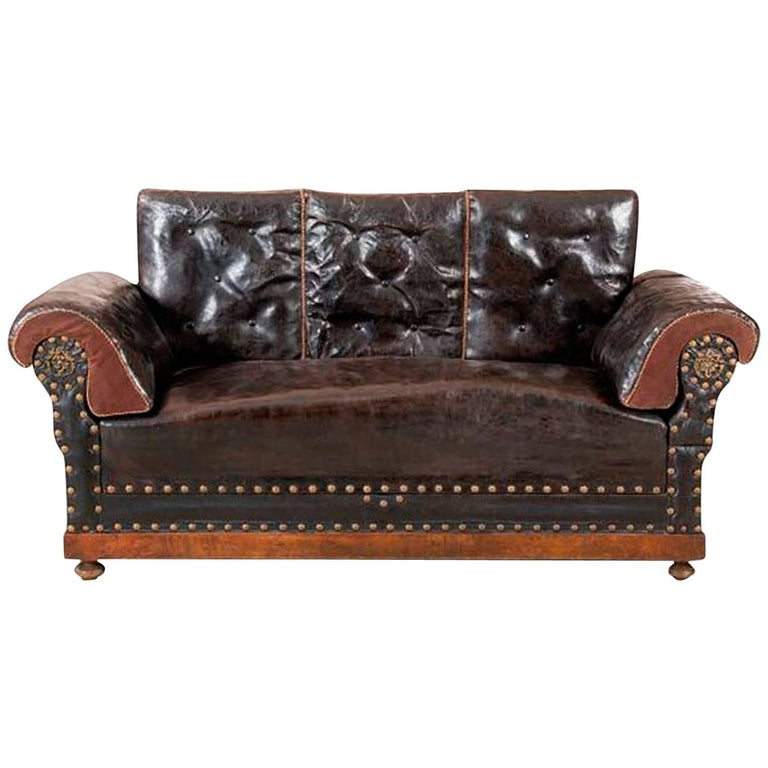 Late 19th Century Englis Black Leather Sofa For Sale
