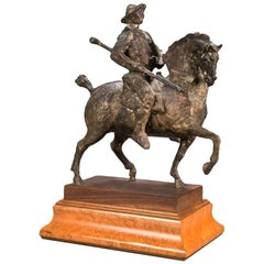 20th Century Venancio Blanco Bronce Figure of a Spearman on Horseback