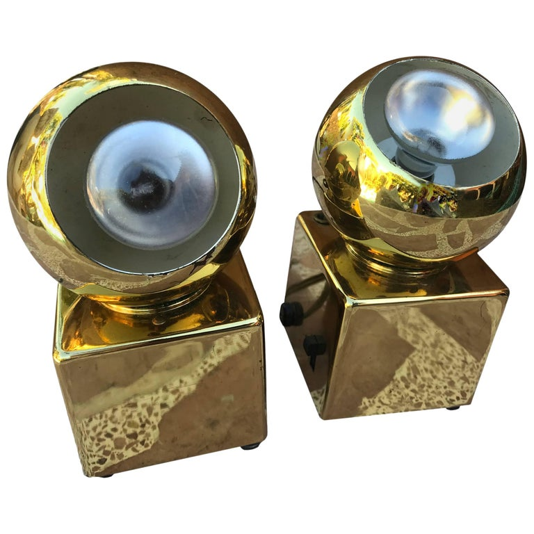 1980s Pair of Roxter Corp Vintage Gilded Spotlight