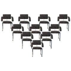 1970s Set of Ten Chromed Steel Armchairs