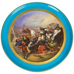 Antique Sevres Porcelain Plaque of the Bataille De Tours, 18th Century