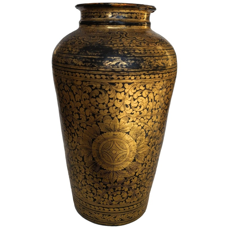 19th Century Chinese Black Lacquered Papier Mch Vase For Sale At