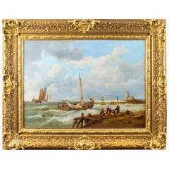 19th Century Dutch Oil on Canvas Painting of a Coastal Scene