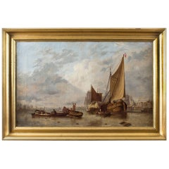 Dutch Painting of Boats on an Estuary Circle Hermans Koekkoek, 19th Century