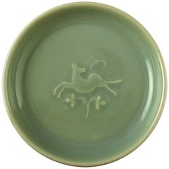 Royal Copenhagen Stoneware Bowl with Celadon Glaze and Low Relief of Deer