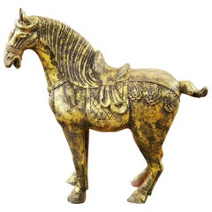 Chinese Horse Sculpture in Gilded Terracotta