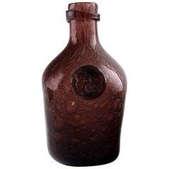 Biot, France, Unique Glass Bottle, Late 1900s, Violet Glass with Bubbles
